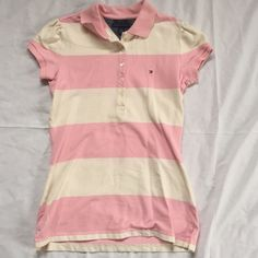 Women's Tommy Hilfiger slim fit shirt. Tommy Hilfiger short sleeve collar shirt. Tommy Hilfiger Tops Button Down Shirts