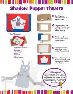 Owlkids | Make a Shadow Puppet Theatre - Owlkids Shadow Theatre, Puppet Theatre, Theater, Monkey King, Shadow Puppets, Paint Drying, Shadow Box, Favorite Color, Robot