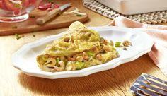 Lust auf herzhaft gefüllte Pfannkuchen? Dann nimm einfach frische Champignons, würzige Frühlingszwiebeln, bereits gegarte und geschälte Krabben. Dann alles anbraten – etwas geriebenen Käse darüber und fertig!