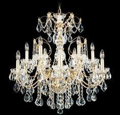Schonbek Heirloom Gold Century 12 Light Wide Crystal Chandelier with Clear Swarovski Heritage Crystals