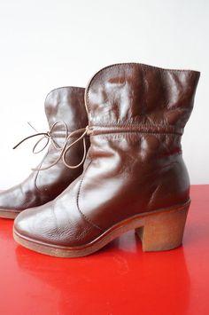 Bottines BooTS fOurrées Moumoute CUIR Leather Vintage 70 vtg T 37 TRES BON ETAT