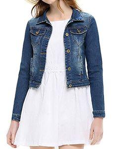 5cf62ea3e41db Cruiize Womens Trucker Washed Rugged Wear Short Slim Denim Jean Jacket Blue  S