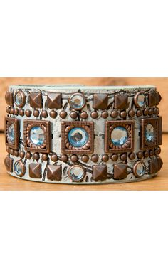 Wear N.E. Wear® Metallic Turquoise Leather w/ Pyramid Studs & Crystals Snap Bracelet | Cavender's Boot City