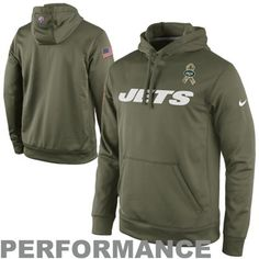 Nike New York Jets Salute to Service KO Pullover Performance Hoodie - Olive