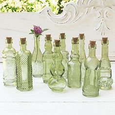 Vintage Glass Bottles with Corks Bud Vases Assorted Shapes 5 Inch Tall Mini Vases Set of 10 Bottles Green >>> Check out this great product.