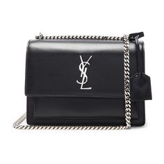Saint Laurent Medium Monogram Sunset Chain Bag (3,835 BAM) ❤ liked on Polyvore featuring bags, handbags, shoulder bags, bolsas, chain shoulder bag, purse shoulder bag, monogrammed handbags, yves saint laurent purses and shoulder handbags