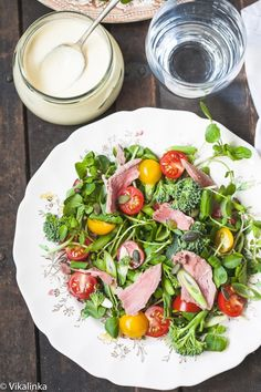 Watercress and Roast Beef Salad with Horseradish Dressing.