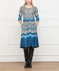 Love this Blue & Black Zigzag Drape Dress by Reborn Collection on #zulily! #zulilyfinds
