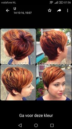 Cute haircut and color Short Red Hair, Short Hair Cuts, Short Hair Styles, Funky Hairstyles, Pretty Hairstyles, Edgy Hair, Haircut And Color, Hair Affair, Great Hair