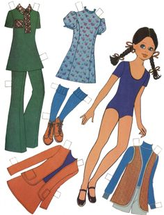(⑅ ॣ•͈ᴗ•͈ ॣ)♡                                                            ✄Mujeres Paper Clothes, Doll Clothes, Paper Art, Paper Crafts, Paper Dolls Printable, Dress Up Dolls, Vintage Paper Dolls, Sewing Toys, Retro Toys