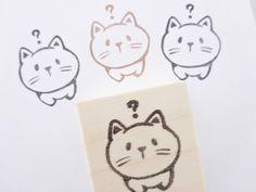 Cat stamp, Japanese cat stamp, Pet geek gift, Cute cat stamp, Japanese stationery, Neko stamp, Hobonichi hanko, Cat geek unique, Pet stamp(Etsy のJapaneseRubberStampsより) https://www.etsy.com/jp/listing/247411265/cat-stamp-japanese-cat-stamp-pet-geek