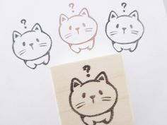 Cat stamp, Japanese cat stamp, Pet geek gift, Cute cat stamp, Japanese stationery, Neko stamp, Hobonichi hanko, Cat geek unique, Pet stamp(Etsy のJapaneseRubberStampsより) https://www.etsy.com/jp/listing/247411265/cat-stamp-japanese-cat-stamp-pet-geek