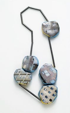 Necklace | Ermelinda Magro.  Silver, polystyrene, photo, resin......C Fox: Rectangles are repeated to create unity.