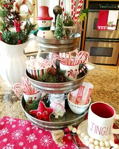 Blessed at Home : Christmas hot cocoa station /kitchen tiered tray Gingerbread Christmas Decor, Dollar Tree Christmas, Christmas Time, Christmas Crafts, Christmas Ideas, Christmas Hot Chocolate, Hot Chocolate Bars, Christmas Coffee, Farmhouse Christmas Decor