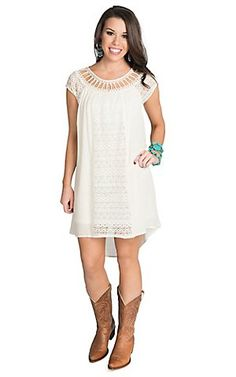 Flying Tomato Women's Ivory with Lace Hi-Lo Cap Sleeve Dress - Plus Sizes | Cavender's