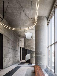 """Herzog & de Meuron's interiors for 56 Leonard """"Jenga"""" tower revealed Home Design Decor, Design Entrée, Lobby Design, Decoration Design, House Design, Design Ideas, Nail Design, Industrial House, Industrial Lighting"""