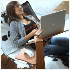 Captivating Lounge Wood   Ergonomic Workplace Designed For Laptops And IPad. Made By  Cultivated Wood With Natural Finish, Inox Steel, Aluminium