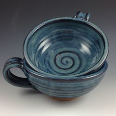 Soup Bowls, Set of 2 Bowls with Handle, Handmade Pottery Bowls in our Denim Blue Glaze by nealpottery on Etsy