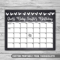 041 / BABY SHOWER / DECORATION / GAME / SIGN / BABY SHOWER IDEAS / CHALK / CHALKBOARD / HEARTS / GUESS THE DUE DATE / BABY DUE DATE / GUESSING GAME / CALENDAR