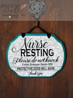 CUSTOM - YOU CREATE - Nurse Sleeping Sign - Do not knock - Service Worker Sign by SpruceSky