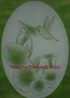 Oval X White LILY  HUMMINGBIRDS WINDOW DECAL Sliding Glass - Window alert hummingbird decals amazon