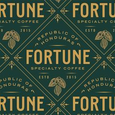 Designed by: For: Fortune Specialty Coffee. Typography Logo, Typography Design, Logo Branding, Lettering, Word Design, Menu Design, Print Design, Brand Identity Design, Branding Design