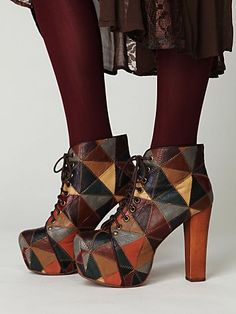 Colorful pieced lace-up platform boot with wooden heels by Jeffrey Campbell