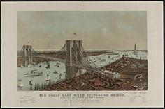 Vintage Brooklyn Bridge-East River Bridge Framed Wall Art — Giclee print and framed in USA by MUSEUM OUTLETS