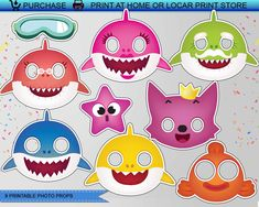 "Baby Shark Photo Props Doo doo doo doo doo doo you have a ""Baby Shark\""-obsessed kiddo who would love nothing more than a fin-tastic under-the-sea shark party? 1st Birthday Parties, 2nd Birthday, Shark Photos, Baby Shark Doo Doo, Shark Party Supplies, Baby Party, First Birthdays, Crafts For Kids, Photo Props"