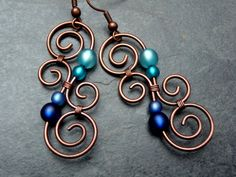 Earrings - LUMINATE - BLUE and TURQUOISE  - New Zealand Maori Symbol - Copper wirework - Spiral