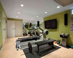 home gym - home gym design: power tower, free weights, rowing