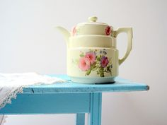Vintage Floral Hall China Teapot