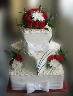"""""""Swirls"""" and fresh flowers By aldoska on CakeCentral.com the flower arranging on this one is amazing!!!!"""