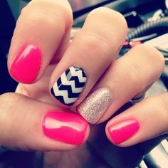 Chevron nail design. Pink black gold white nail polish. Glitter nail polish. Accent nail.