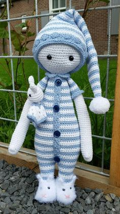 Lalylala Doll in pyjama - Lalylala Bina bear Doll - Stuffed Crochet pyjama doll- Doll in pyjama - Crochet Doll-amigurumi Doll, lalylala Bina