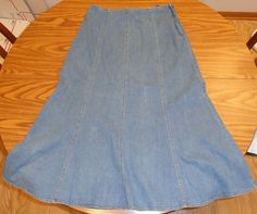 Faded Glory JRs SZ 12 Denim Skirt Long Modest No Slit #FadedGlory #FullSkirt