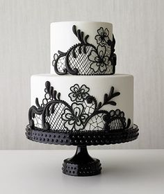Black lace wedding cake. My wedding colour scheme will be black and silver. I cannot wait. X