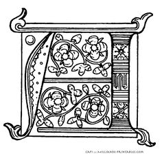 Illuminated Manuscript Letters -  Printable Alphabet Letters - Letter A ::: 7 Sample of an 15th century illuminated manuscript alphabet , A sketch of an illuminated letter template , Illuminated Letter Templates for inspiration