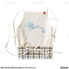 Blue Stork Delivery Boy Zazzle HEART Apron