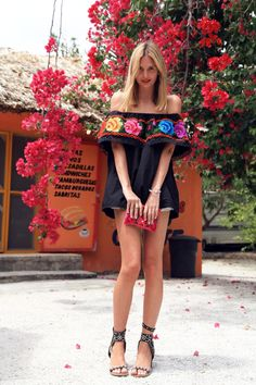 Jessica Stein (Tuula) - Mexican market top, clutch, and bracelet, Ksubi shorts, Athens market leaf ring, Mania Mania ring, Jacquie Aiche rings, Gorjana bracelet, and Isabel Marant sandals.