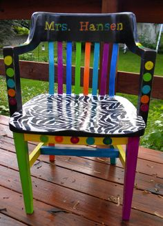 Old teacher chair I painted for one of our very favorite teachers :)