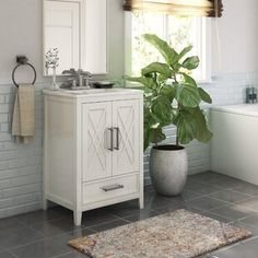 "Gracie Oaks Guang 60"" Single Bathroom Vanity Set | Wayfair Double Door Design, Mirror Backsplash, Wall Tiles, Sink Top, Single Bathroom Vanity, Single Vanities, Bathroom Vanities, Luxury Vinyl Plank, Cabinet Handles"