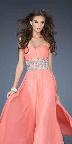 Sexy Pink Chiffon Sweetheart Natural Evening Dress tkzdresses15485fgt #longdress #promdress