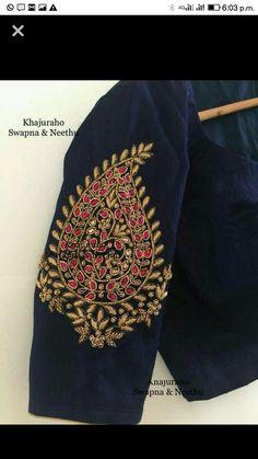Pattu Saree Blouse Designs, Simple Blouse Designs, Blouse Designs Silk, Designer Blouse Patterns, Bridal Blouse Designs, Maggam Work Designs, Bordado Floral, Sleeve Designs, Embroidered Blouse