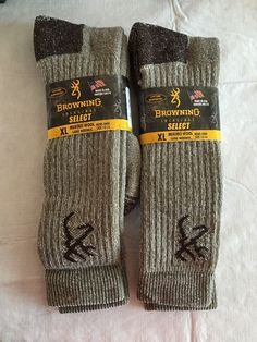 7a993fd661e43 Browning 85% Merino Wool Hiking Thermal Men's Tall Outdoor Boot Socks XL 2  Pairs #