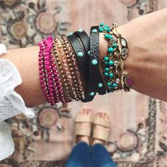 Layer your wrists this Summer with the New Arrivals! Journey to Jaipur! . . bracelets, fushia, turquoise, semi-precious, new arrivals, wrap bracelet, mothers day gift ideas, treat yourself, boho