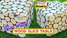 Wood slices and a simple Ikea Lack table make this funky outdoor side table!