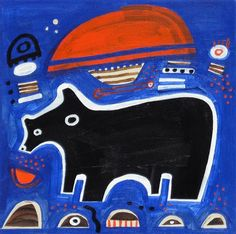 BLACK BEAR ON BLUE  Jessica JH Roller