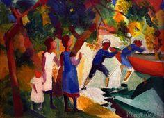 August Macke - Spielende Kinder am Wasser