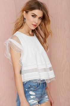 Joa Pleat Nothings Top - Ivory - Shirts + Blouses